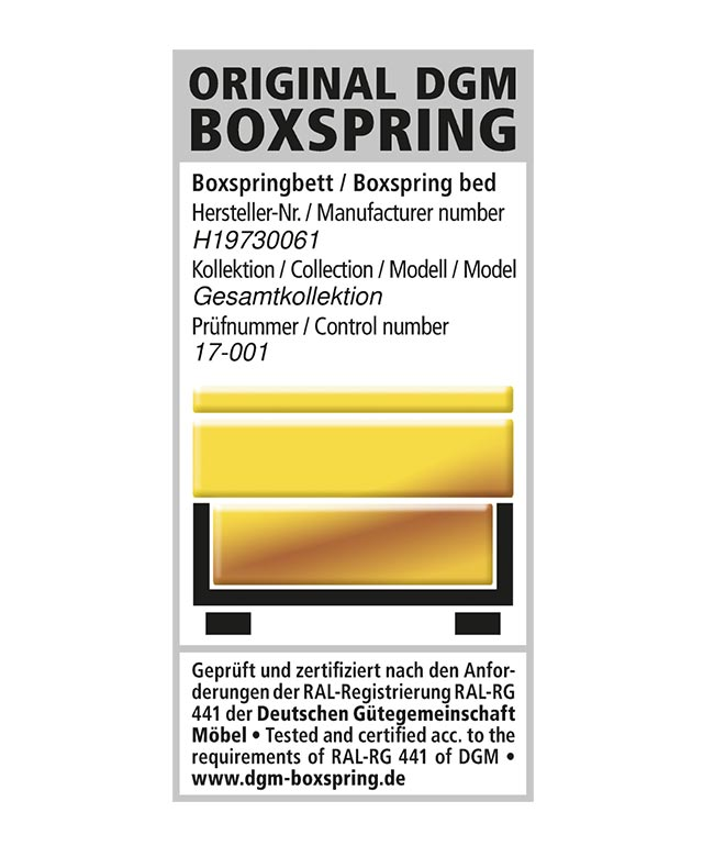 Gütesiegel Original DGM Boxspring